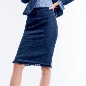J Crew Navy Tweed Pencil Skirt with Fringe